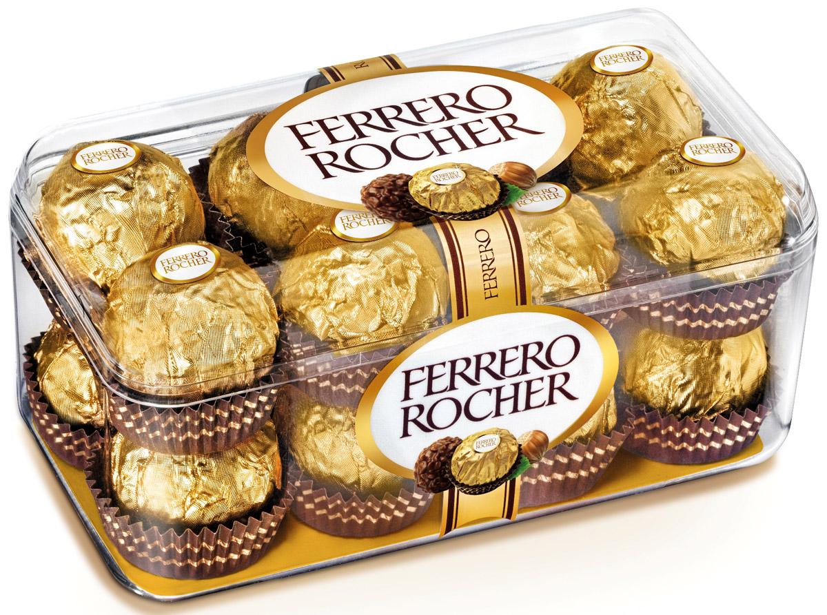 Ferrero Rocher конфеты хрустящие из молочного шоколада, покрытые измельченными орешками, с начинкой из крема и лесного ореха, 200 г77117729/77098311/77133887Отборный цельный лесной орех в окружении молочного шоколада и нежного орехового крема, заключенные в хрустящую вафельную оболочку, покрытую шоколадно-ореховой крошкой.