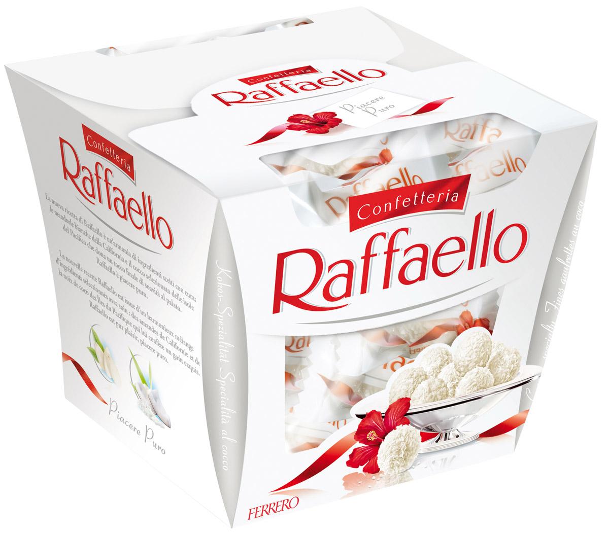 Raffaello конфеты с цельным миндальным орехом в кокосовой обсыпке, 150 г pergale шоколад темный с карамелизированным миндалем и апельсином 220 г