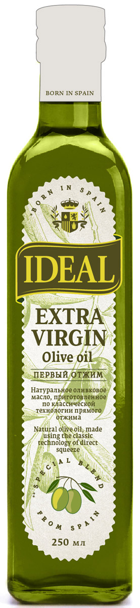 Ideal Extra Virgin масло оливковое, 0,25 л ideal маслины с косточкой extra class 300 г
