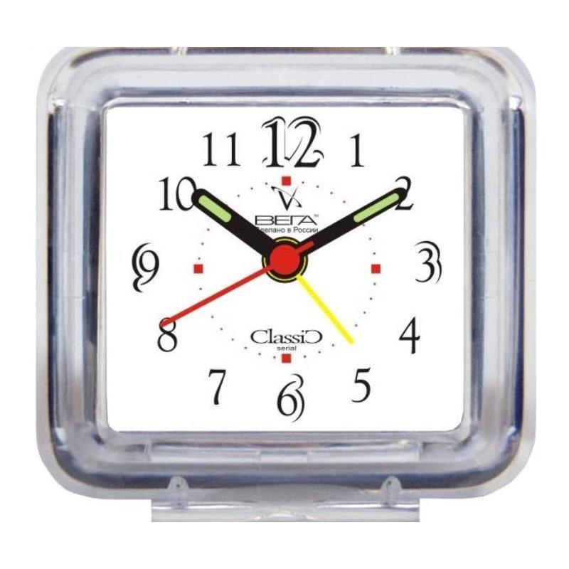 Часы-будильник Вега Классика. Б1-001Б1-001Настольные кварцевые часы Вега Классика изготовленыиз прозрачного пластика. Часы имеют четыре стрелки -часовую, минутную, секундную и стрелку завода. Такие часы красиво и оригинально украсят интерьер домаили рабочий стол в офисе. Также часы могут статьуникальным, полезным подарком для родственников,коллег, знакомых и близких.Часы работают от батарейки типа АА (в комплект невходит). Имеется инструкция по эксплуатации на русскомязыке.