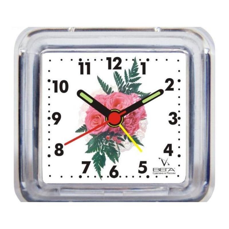 Часы-будильник Вега Розовый цветокБ1-004Настольные кварцевые часы Вега Розовый цветок изготовленыиз прозрачного пластика. Часы имеют четыре стрелки -часовую, минутную, секундную и стрелку завода. Такие часы красиво и оригинально украсят интерьер домаили рабочий стол в офисе. Также часы могут статьуникальным, полезным подарком для родственников,коллег, знакомых и близких.Часы работают от батарейки типа АА (в комплект невходит). Имеется инструкция по эксплуатации на русскомязыке.