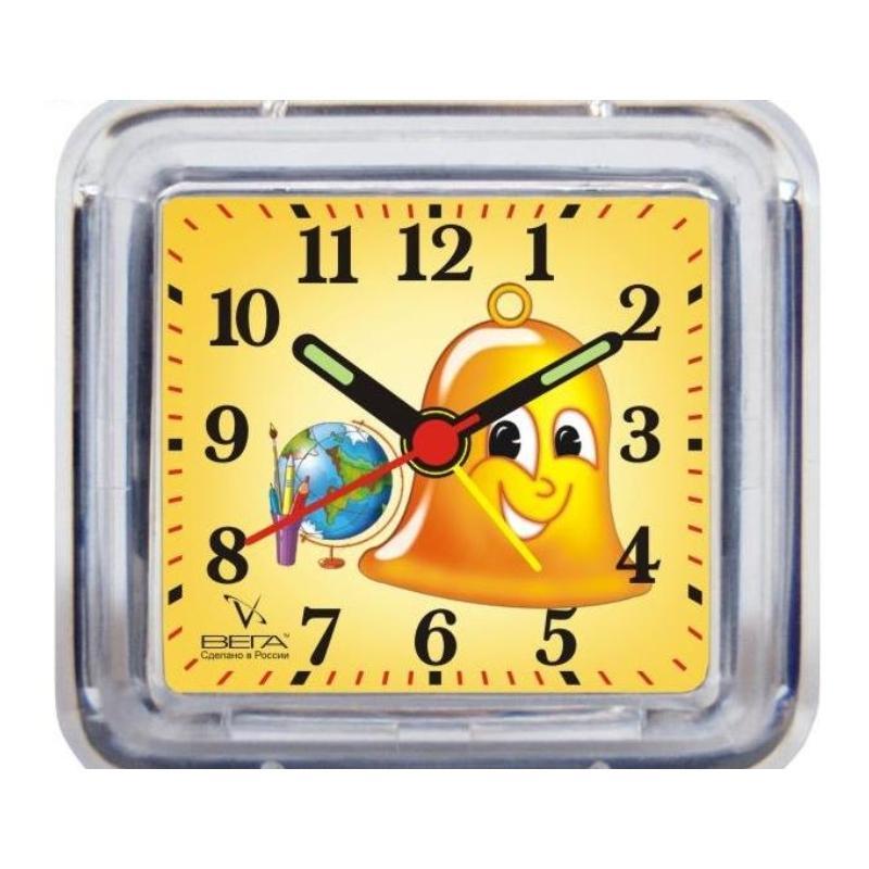 Часы-будильник Вега ШкольныеБ1-028Настольные кварцевые часы Вега Школьные изготовленыиз прозрачного пластика. Часы имеют четыре стрелки -часовую, минутную, секундную и стрелку завода. Такие часы красиво и оригинально украсят интерьер домаили письменный стол ученика. Также часы могут статьуникальным, полезным подарком для родственников,друзей, знакомых и близких.Часы работают от батарейки типа АА (в комплект невходит). Имеется инструкция по эксплуатации на русскомязыке.