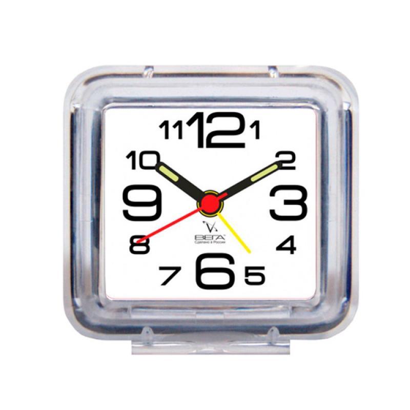 Часы-будильник Вега, цвет: белыйБ1-055(бел)Настольные кварцевые часы Вега изготовлены из прозрачного пластика. Часы имеют четыре стрелки - часовую, минутную, секундную и стрелку завода.Такие часы красиво и оригинально украсят интерьер дома или рабочий стол в офисе. Также часы могут стать уникальным, полезным подарком для родственников, коллег, знакомых и близких.Часы работают от батарейки типа АА (в комплект не входит). Имеется инструкция по эксплуатации на русском языке.