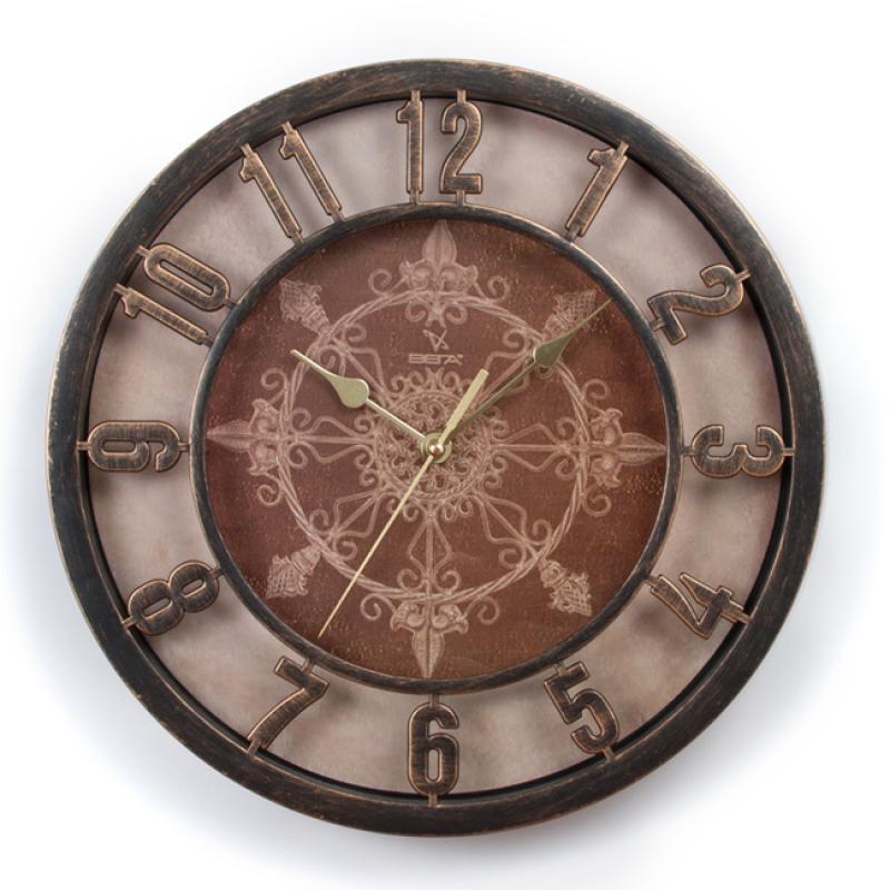Часы настенные Вега Ажур, цвет: бронзаН0199Оригинальные настенные часы круглой формы Вега Ажур выполнены из пластика. Часы имеют три стрелки - часовую, минутную и секундную. Необычное дизайнерское решение и качество исполнения придутся по вкусу каждому. Оформите свой дом таким интерьерным аксессуаром или преподнесите его в качестве презента друзьям, и они оценят ваш оригинальный вкус и неординарность подарка. Часы работают от 1 батарейки типа АА напряжением 1,5 В (в комплект не входит).