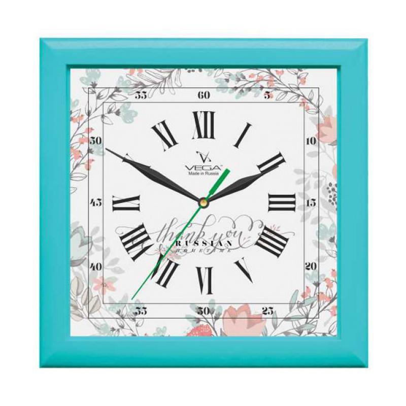 Часы настенные Вега БирюзаП3-16-127Оригинальные настенные часы квадратной формы Вега Бирюза выполнены из пластика. Часы имеют три стрелки - часовую, минутную исекундную. Необычное дизайнерское решение и качество исполнения придутся по вкусу каждому. Оформите свой дом таким интерьернымаксессуаром или преподнесите его в качестве презента друзьям, и они оценят ваш оригинальный вкус и неординарность подарка. Часы работают от 1 батарейки типа АА напряжением 1,5 В (в комплект не входит).