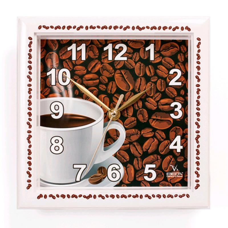Часы настенные Вега Кофе. П3-791-12П3-791-12Оригинальные настенные часы квадратной формы Вега Кофе выполнены из пластика. Часы имеют три стрелки - часовую, минутную и секундную. Необычное дизайнерское решение и качество исполнения придутся по вкусу каждому. Оформите свой дом таким интерьерным аксессуаром или преподнесите его в качестве презента друзьям, и они оценят ваш оригинальный вкус и неординарность подарка.Часы работают от 1 батарейки типа АА напряжением 1,5 В (в комплект не входит).