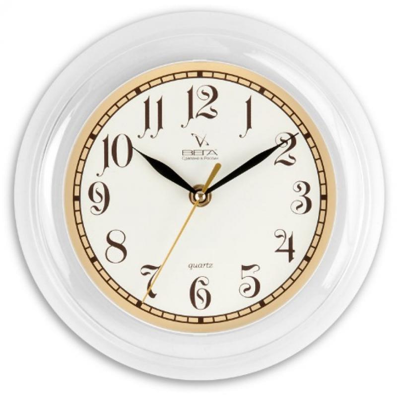 Часы настенные Вега Классика с бежевым кантомП6-7-84Оригинальные настенные часы круглой формы Вега Классика с бежевым кантом выполнены из пластика. Часы имеют три стрелки - часовую, минутную и секундную. Необычное дизайнерское решение и качество исполнения придутся по вкусу каждому. Оформите свой дом таким интерьерным аксессуаром или преподнесите его в качестве презента друзьям, и они оценят ваш оригинальный вкус и неординарность подарка. Часы работают от 1 батарейки типа АА напряжением 1,5 В (в комплект не входит).