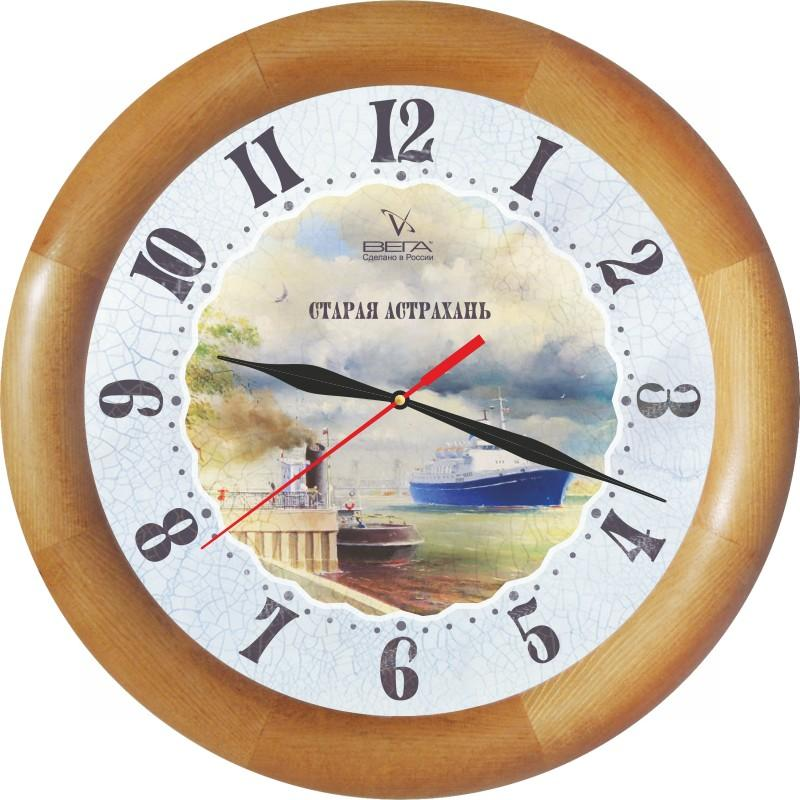 Часы настенные Вега Старая АстраханьД1НД/7-143Оригинальные настенные часы круглой формы Вега Старая Астрахань выполнены из дерева и пластика. Часы имеют три стрелки - часовую, минутную и секундную. Необычное дизайнерское решение и качество исполнения придутся по вкусу каждому. Оформите свой дом таким интерьерным аксессуаром или преподнесите его в качестве презента друзьям, и они оценят ваш оригинальный вкус и неординарность подарка.Часы работают от 1 батарейки типа АА напряжением 1,5 В (в комплект не входит).