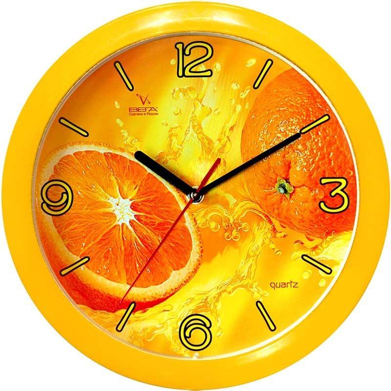 Часы настенные Вега АпельсинП1-2/7-11Оригинальные настенные часы круглой формы Вега Апельсин выполнены из пластика. Часы имеют три стрелки - часовую, минутную исекундную. Необычное дизайнерское решение и качество исполнения придутся по вкусу каждому. Оформите свой дом таким интерьернымаксессуаром или преподнесите его в качестве презента друзьям, и они оценят ваш оригинальный вкус и неординарность подарка. Часы работают от 1 батарейки типа АА напряжением 1,5 В (в комплект не входит).
