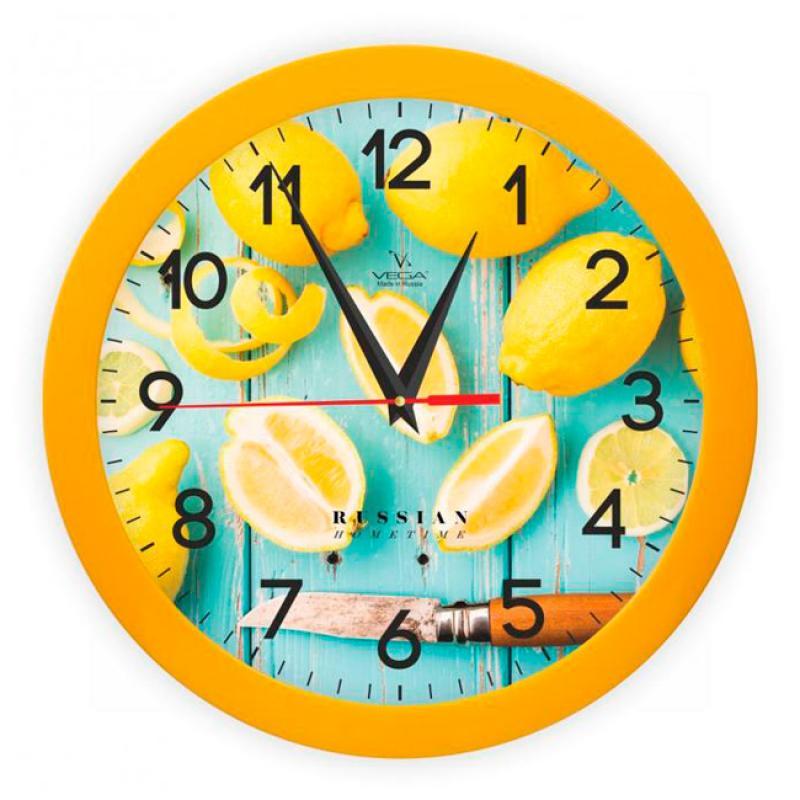 Часы настенные Вега ЛимоныП1-2/7-260Оригинальные настенные часы круглой формы Вега Лимоны выполнены из пластика. Часы имеют три стрелки - часовую, минутную и секундную. Необычное дизайнерское решение и качество исполнения придутся по вкусу каждому. Оформите свой дом таким интерьерным аксессуаром или преподнесите его в качестве презента друзьям, и они оценят ваш оригинальный вкус и неординарность подарка. Часы работают от 1 батарейки типа АА напряжением 1,5 В (в комплект не входит).