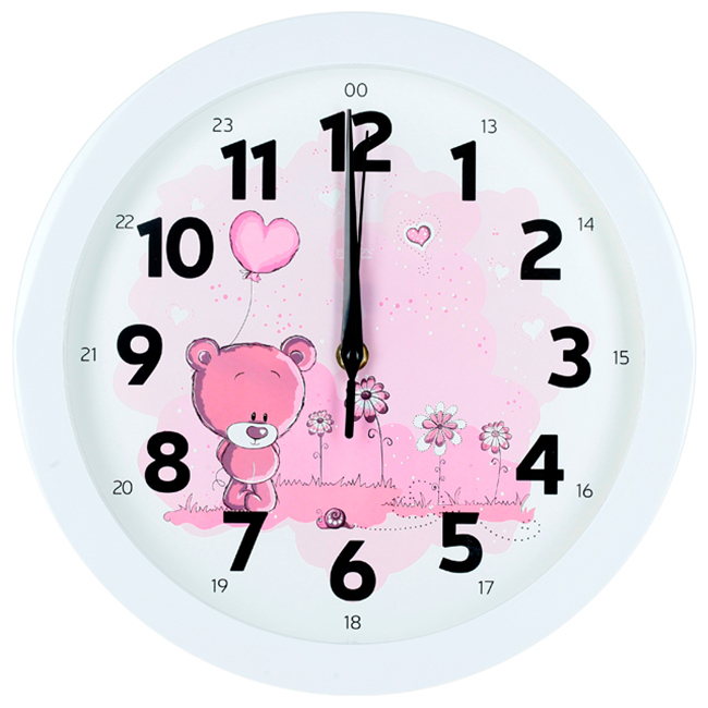 Часы настенные Вега Розовый медвежонокП1-7/7-203Оригинальные настенные часы круглой формы Вега Розовый медвежонок выполнены из пластика. Часы имеют три стрелки - часовую, минутную и секундную. Ход часов - плавный и бесшумный. Необычное дизайнерское решение и качество исполнения придутся по вкусу каждому. Оформите свой дом таким интерьерным аксессуаром или преподнесите его в качестве презента друзьям, и они оценят ваш оригинальный вкус и неординарность подарка.Часы работают от 1 батарейки типа АА напряжением 1,5 В (в комплект не входит).