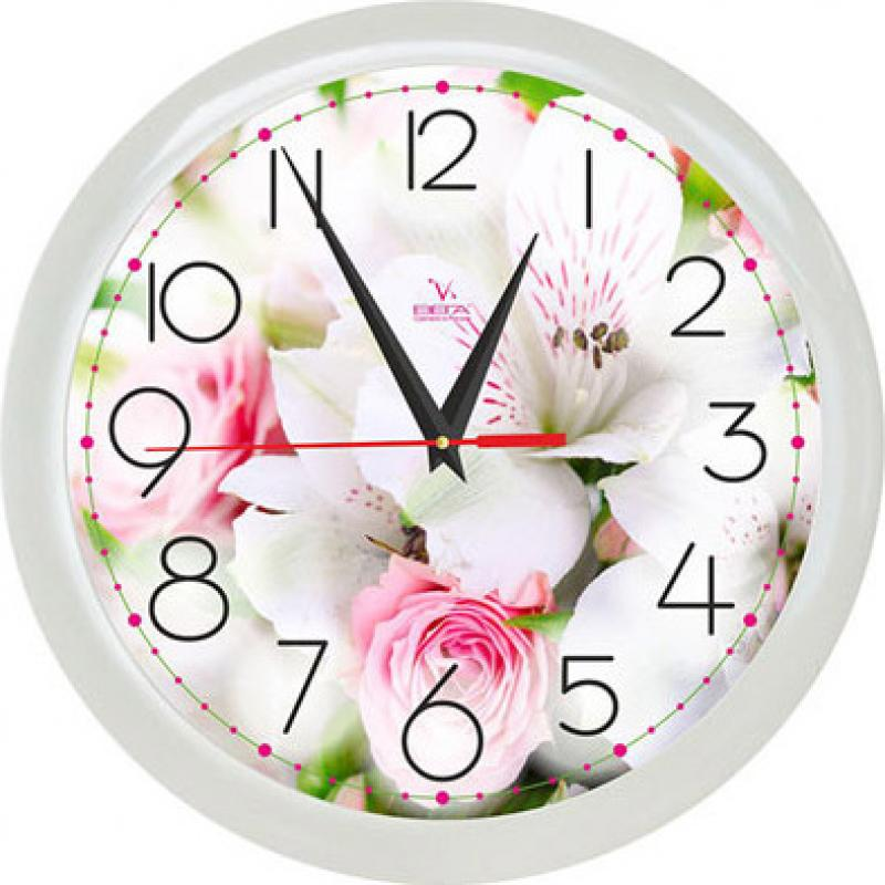 Часы настенные Вега Белая лилияП1-7/7-211Оригинальные настенные часы круглой формы Вега Белая лилия выполнены из пластика. Часы имеют три стрелки - часовую, минутную исекундную. Необычное дизайнерское решение и качество исполнения придутся по вкусу каждому.Оформите свой дом таким интерьерным аксессуаром или преподнесите его в качестве презента друзьям, и они оценят ваш оригинальный вкус инеординарность подарка.