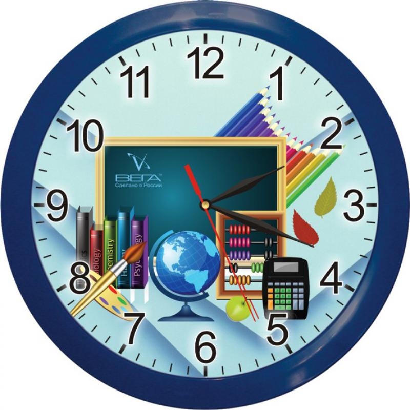 Часы настенные Вега Школа, диаметр 28,5 смП1-10/7-172Настенные кварцевые часы Вега Школа, изготовленные из пластика, отлично подойдут для оформления рабочего места ученика. Круглые часы имеют три стрелки: часовую,минутную и секундную, циферблат защищен прозрачным стеклом.Часы работают от 1 батарейки типа АА напряжением 1,5 В (не входит в комплект).Диаметр часов: 28,5 см.