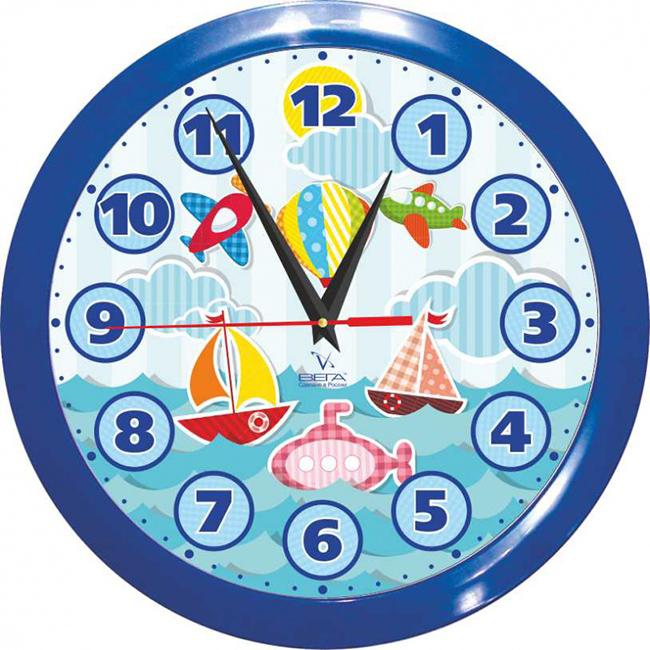 Часы настенные Вега Кораблики детскиеП1-10/7-204Оригинальные настенные часы круглой формы Вега Кораблики детские выполнены из пластика. Часы имеют три стрелки - часовую, минутную и секундную. Необычное дизайнерское решение и качество исполнения придутся по вкусу каждому. Оформите свой дом таким интерьерным аксессуаром или преподнесите его в качестве презента друзьям, и они оценят ваш оригинальный вкус и неординарность подарка.Часы работают от 1 батарейки типа АА напряжением 1,5 В (в комплект не входит).