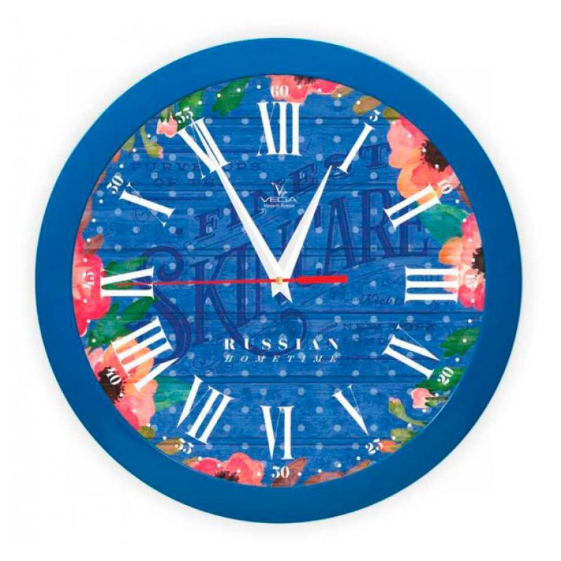 Часы настенные Вега Яркие краски, цвет: синийП1-10/7-287Оригинальные настенные часы круглой формы Вега Яркие краски выполнены из пластика. Часы имеют три стрелки - часовую, минутную и секундную. Необычное дизайнерское решение и качество исполнения придутся по вкусу каждому. Оформите свой дом таким интерьерным аксессуаром или преподнесите его в качестве презента друзьям, и они оценят ваш оригинальный вкус и неординарность подарка.Часы работают от 1 батарейки типа АА напряжением 1,5 В (в комплект не входит).