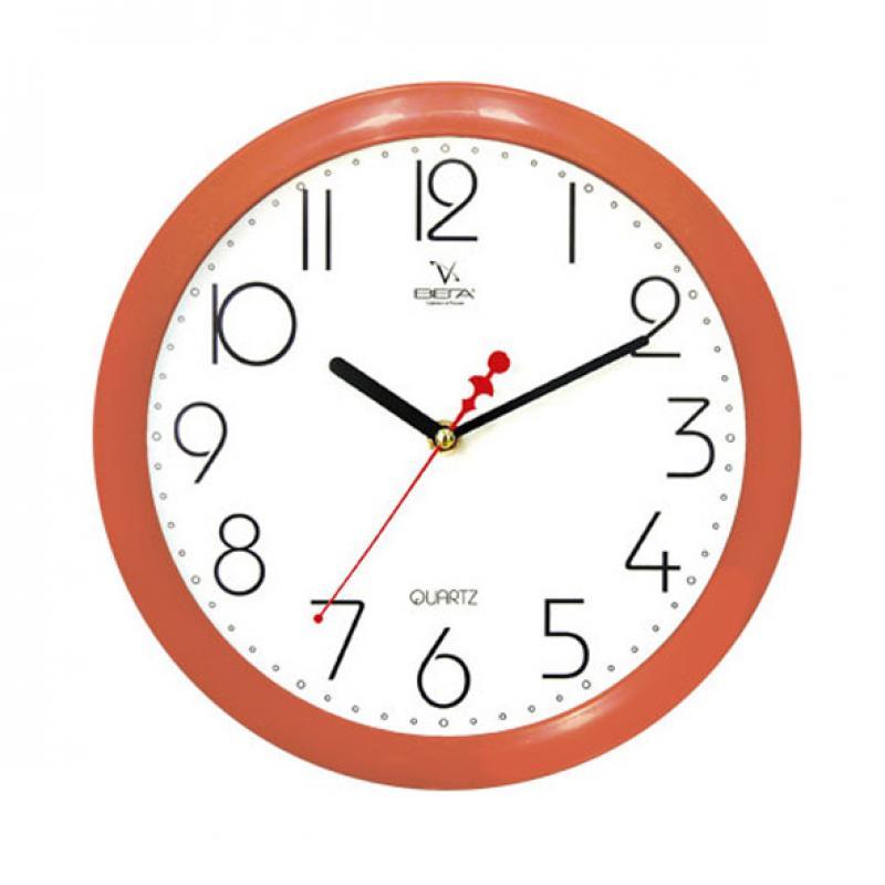 Часы настенные Вега Классика белая, цвет: оранжевыйП1-11/7-4Классические настенные часы круглой формы Вега Классика белая выполнены из пластика. Часы имеют три стрелки - часовую, минутную исекундную. Необычное дизайнерское решение и качество исполнения придутся по вкусу каждому. Оформите свой дом таким интерьернымаксессуаром или преподнесите его в качестве презента друзьям, и они оценят ваш оригинальный вкус и неординарность подарка. Часы работают от 1 батарейки типа АА напряжением 1,5 В (в комплект не входит).