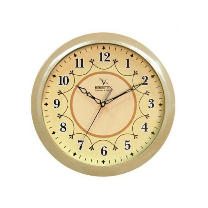 Часы настенные Вега Классика, цвет: бежевый. П1-14/7-12П1-14/7-12Оригинальные настенные часы круглой формы Вега Классика выполнены из пластика. Часы имеют три стрелки - часовую, минутную и секундную. Необычное дизайнерское решение и качество исполнения придутся по вкусу каждому. Оформите свой дом таким интерьерным аксессуаром или преподнесите его в качестве презента друзьям, и они оценят ваш оригинальный вкус и неординарность подарка. Часы работают от 1 батарейки типа АА напряжением 1,5 В (в комплект не входит).