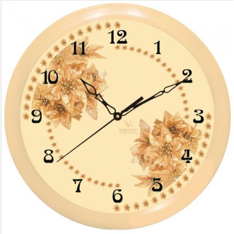 """Оригинальные настенные часы круглой формы Вега """"Сухоцвет"""" выполнены из пластика. Часы имеют три стрелки - часовую, минутную и секундную. Необычное дизайнерское решение и качество исполнения придутся по вкусу каждому. Оформите свой дом таким интерьерным аксессуаром или преподнесите его в качестве презента друзьям, и они оценят ваш оригинальный вкус и неординарность подарка.       Часы работают от 1 батарейки типа АА напряжением 1,5 В (в комплект не входит)."""