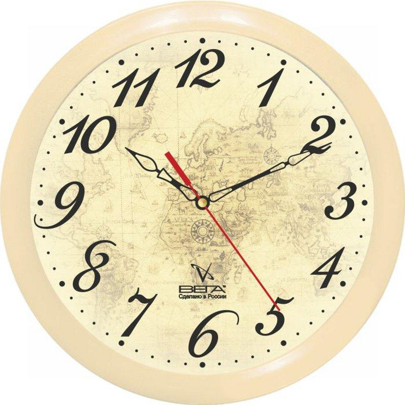 Часы настенные Вега Классика, цвет: бежевый. П1-14/7-97П1-14/7-97Оригинальные настенные часы круглой формы Вега Классика выполнены из пластика. Часы имеют три стрелки - часовую, минутную и секундную. Необычное дизайнерское решение и качество исполнения придутся по вкусу каждому. Оформите свой дом таким интерьерным аксессуаром или преподнесите его в качестве презента друзьям, и они оценят ваш оригинальный вкус и неординарность подарка. Часы работают от 1 батарейки типа АА напряжением 1,5 В (в комплект не входит).