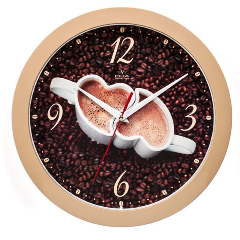 Часы настенные Вега Кофе для двоих, диаметр 28,5 смП1-14/7-225Настенные часы станут отличным дополнением к вашему интерьеру. У часов оригинальный рисунок на циферблате.