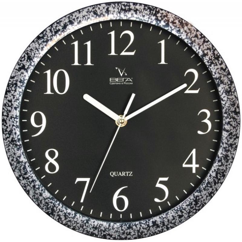 Часы настенные Вега Классика черная в пестромП1-672/6-6Оригинальные настенные часы круглой формы Вега Классика черная в пестром выполнены из пластика. Часы имеют три стрелки - часовую, минутную и секундную. Необычное дизайнерское решение и качество исполнения придутся по вкусу каждому. Оформите свой дом таким интерьерным аксессуаром или преподнесите его в качестве презента друзьям, и они оценят ваш оригинальный вкус и неординарность подарка.Часы работают от 1 батарейки типа АА напряжением 1,5 В (в комплект не входит).