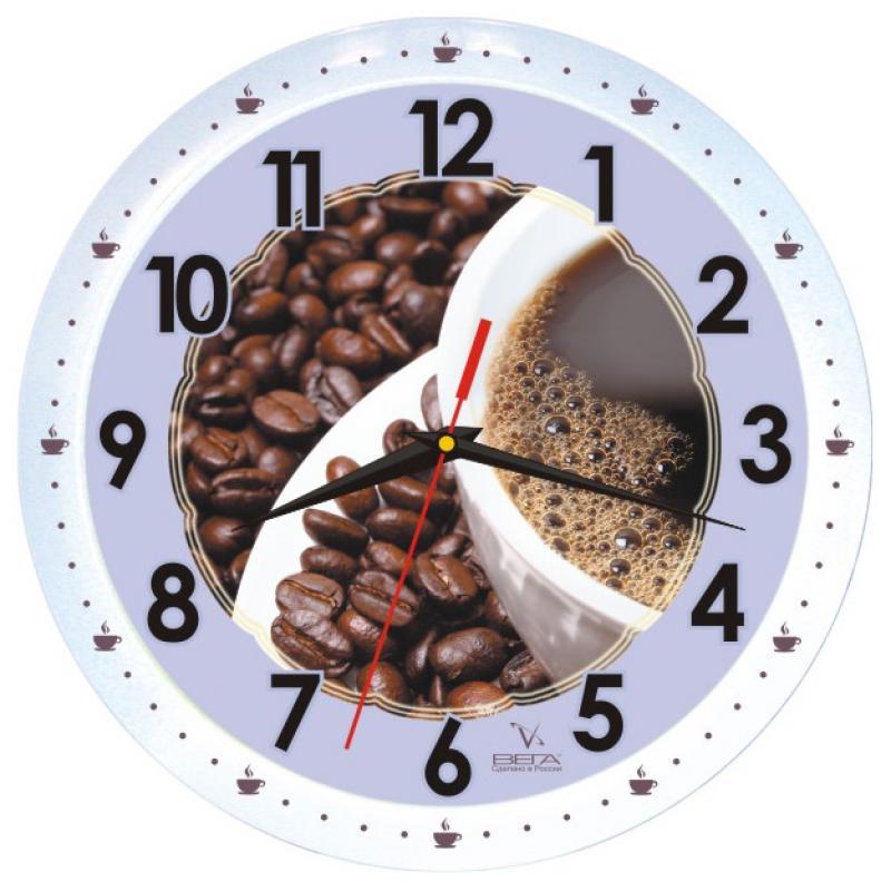Часы настенные Вега Кофе53, диаметр 28,5 смП1-799/7-53Настенные кварцевые часы Вега Кофе53 в классическом дизайне,изготовленные из пластика, прекрасно впишутся в интерьервашего дома. Круглые часы имеют три стрелки: часовую,минутную и секундную, циферблат защищен прозрачным стеклом.Часы работают от 1 батарейки типа АА напряжением 1,5 В (не входит в комплект).Диаметр часов: 28,5 см.