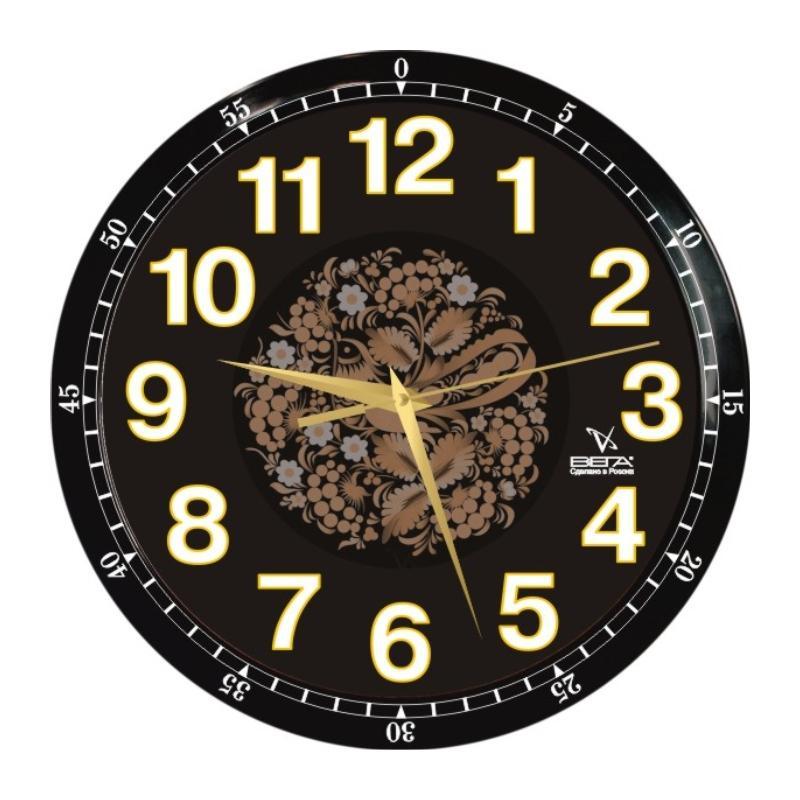 Часы настенные Вега Классика черная с узоромП1-6715/6-85Оригинальные настенные часы круглой формы Вега Классика черная с узором выполнены из пластика. Часы имеют три стрелки - часовую, минутную и секундную. Необычное дизайнерское решение и качество исполнения придутся по вкусу каждому. Оформите свой дом таким интерьерным аксессуаром или преподнесите его в качестве презента друзьям, и они оценят ваш оригинальный вкус и неординарность подарка.Часы работают от 1 батарейки типа АА напряжением 1,5 В (в комплект не входит).