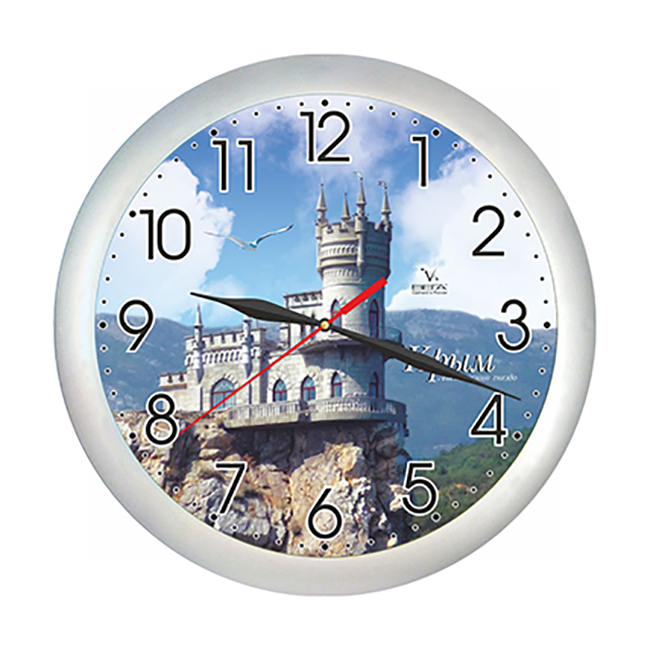 Часы настенные Вега Крым. Ласточкино гнездоП1-серебро/7-221Оригинальные настенные часы круглой формы Вега Крым. Ласточкино гнездо выполнены из пластика. Часы имеют три стрелки - часовую, минутную и секундную. Необычное дизайнерское решение и качество исполнения придутся по вкусу каждому.Оформите свой дом таким интерьерным аксессуаром или преподнесите его в качестве презента друзьям, и они оценят ваш оригинальный вкус и неординарность подарка.Часы работают от 1 батарейки типа АА напряжением 1,5 В(батарейка в комплект не входит).