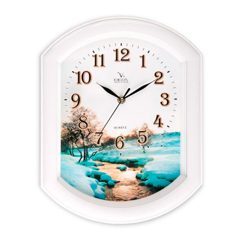 Часы настенные Вега Зимний ручейП2-7/7-17Оригинальные настенные часы Вега Зимний ручей выполнены из пластика. Часы имеют три стрелки - часовую, минутную и секундную. Необычное дизайнерское решение и качество исполнения придутся по вкусу каждому. Оформите свой дом таким интерьерным аксессуаром или преподнесите его в качестве презента друзьям, и они оценят ваш оригинальный вкус и неординарность подарка. Часы работают от 1 батарейки типа АА напряжением 1,5 В (в комплект не входит).