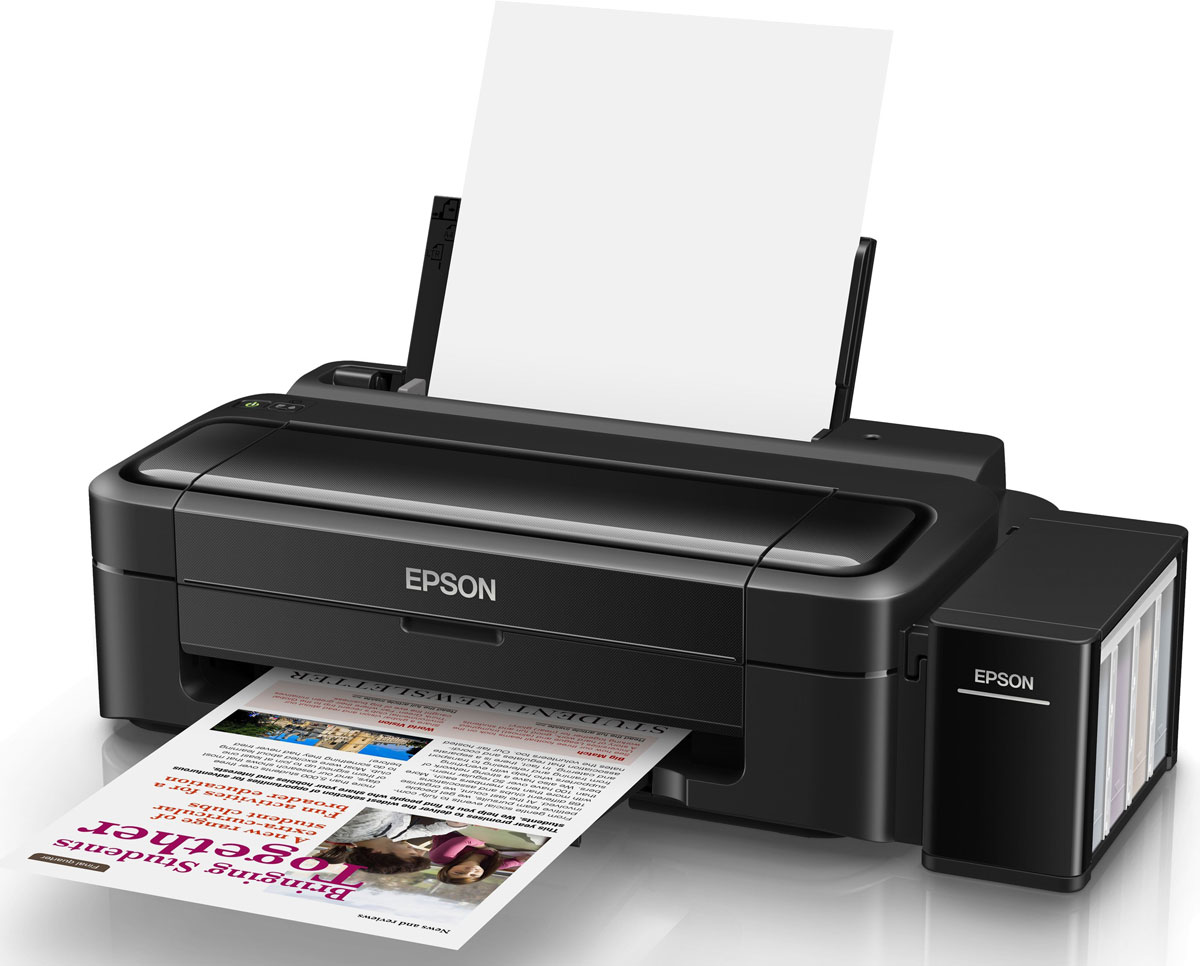 Epson L132 принтерC11CE58403Epson L132 - принтер со стартовым комплектом расходных материалов, рассчитанным на 3 года печати и возможностью печати фото без полей.Особенность всех устройств Фабрики печати Epson – это печать без картриджей. Вместо картриджей Epson L132 использует специальные емкости, из которых чернила поступают в печатающую головку через специальные тракты. При этом уникальное строение емкостей и трактов гарантирует высокое качество печати и надежность работы устройства даже без использования картриджей.Расходными материалами к Epson L132 служат контейнеры с чернилами высоким ресурсом. Так четырех контейнеров с голубыми, пурпурными, желтыми и черными чернилами хватит на печать 7500 цветных и 4500 ч/б документов, то есть при средней нагрузке в 300 страниц в месяц стартового набора чернил вам хватит почти на 3 года печати без необходимости закупки расходных материалов!Благодаря уникальной технологии печати Epson Micro Piezo и точному контролю давления в емкостях с чернилами вы всегда получаете отпечатки превосходного качества. Специально разработанные материалы, на основе которых изготовлены компоненты устройства, обеспечивают долгий срок службы принтера и работу без поломок.Для пользователей, которым нужна преимущественно печать цветных документов, но при этом изредка хочется печатать фотографии будет очень полезна функция печати фото формата 10х15 без полей. Теперь вы сможете распечатать ваши любимые фотографии, которые будут радовать вас яркими цветами и оттенками.