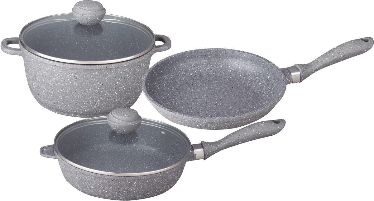 Набор посуды Bekker, с антипригарным покрытием, 5 предметов. BK-4600BK-4600Набор Bekker состоит из кастрюли с крышкой, сковороды и сотейника с крышкой. Изделия изготовлены из литого алюминия. Посуда имеет внутри антипригарное серое мраморное покрытие, снаружи жаропрочное покрытие.Набор Bekker на вашей кухне — идеальное соотношение удобства и экономии места. С этой посудой перед вами исчезнут все преграды и трудности кулинарии.Предметы набора можно использовать на всех типах плит, включая индукционные. Можно мыть в посудомоечной машине.Объем кастрюли: 6 л.Диаметр кастрюли: 28 см.Объем сковороды: 1,5 л.Диаметр сковороды: 24 см.Объем сотейника: 2,3 л.Диаметр сотейника: 24 см.Набор посуды из 5 предметов. Кастрюля 6,0 л с крышкой d-28см х 12,5см, сотейник 2,3 л с крышкой d-24см х 6,5см, Сковорода 1,5 л d-24см х 4,5см. Толщина стенок -2,0мм, дна- 4,5мм. Внутри антипригарное серое мраморное покрытие, снаружи жаропрочное серое мраморное покрытие. Бакелитовые ручки в цвет посуды.
