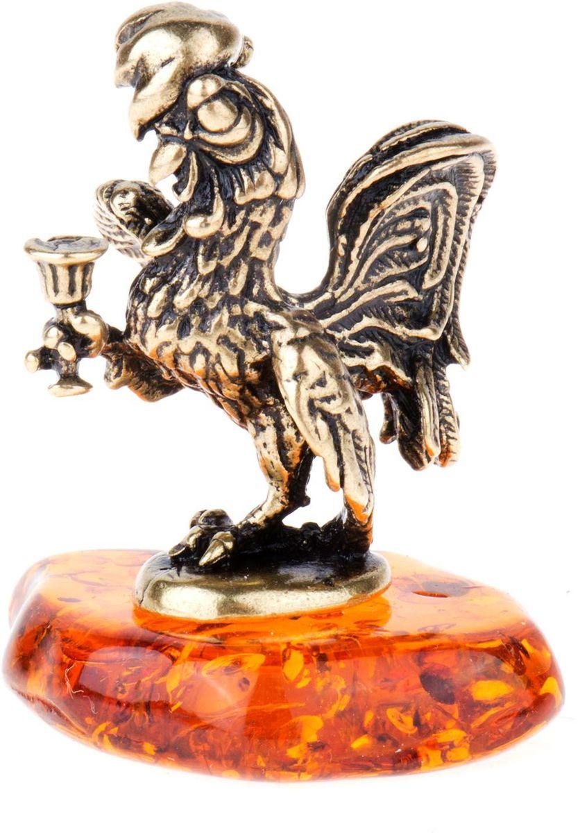 Фигурка декоративная Гифтман Петушок на янтаре, материал: латунь, искусственный янтарь, размер: 2,8х2,5 см. Ручная работа. 5241552415