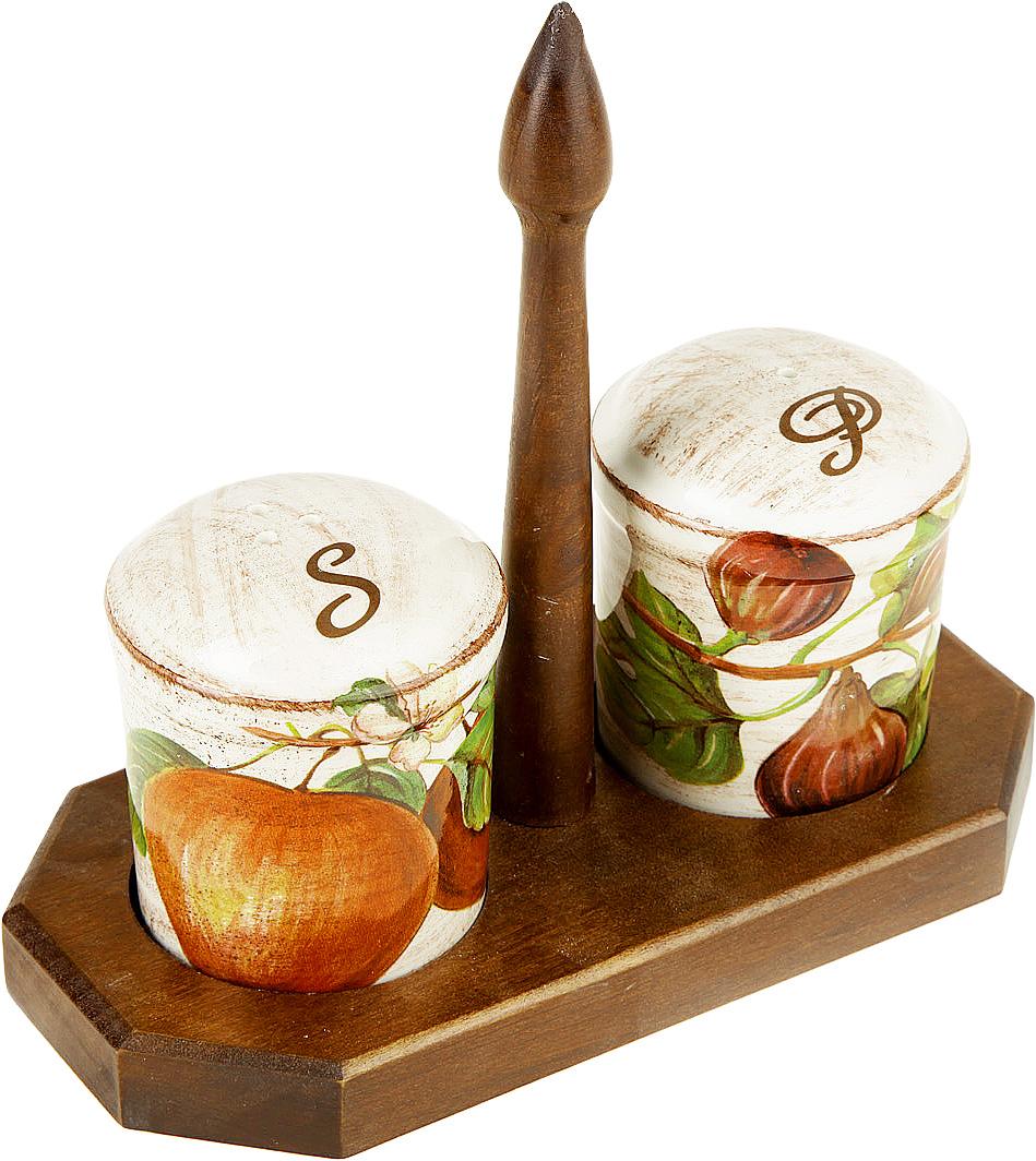 Набор для специй LCS Фрукты, на подставке, 3 предметаFRTT/873/LНабор для специй LCS Фрукты, изготовленный из керамики, состоит из солонки и перечницы. Емкости декорированы изысканным изображением помещаются на специальную деревянную подставку. Солонка и перечница легки в использовании: стоит только перевернуть емкости, и вы с легкостью сможете поперчить или добавить соль по вкусу в любое блюдо.Набор LCS Фрукты не только украсит стол, но и станет полезным аксессуаром как на кухне, так и за праздничным столом. Размер солонки и перечницы: 7 х 7 х 8,5 см. Размер подставки: 19,5 х 9,5 х 19,5 см.