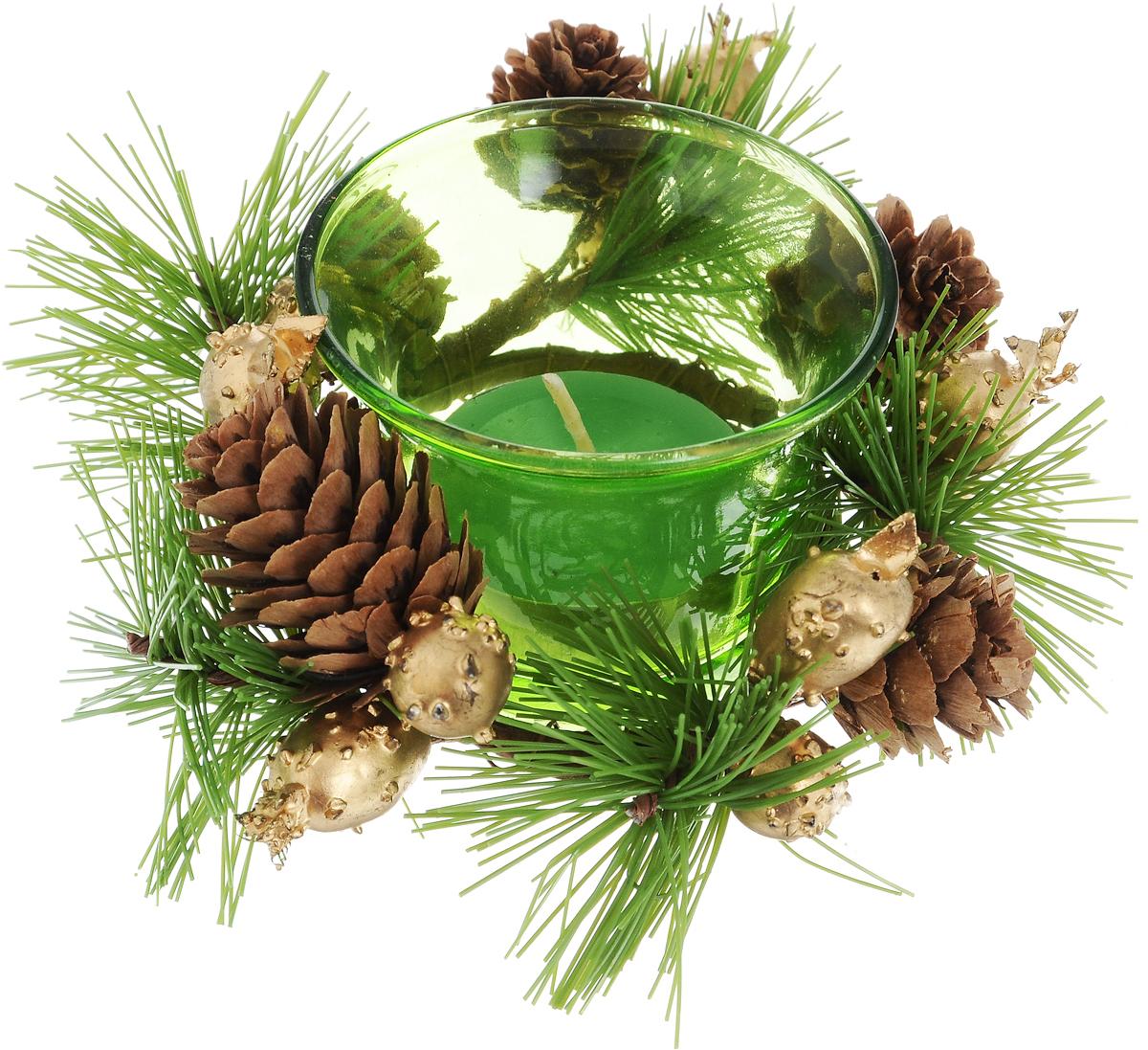 Подсвечник Lovemark, со свечой, цвет: зеленый, коричневый, золотистый. 5A114494703Подсвечник Lovemark представляет собой стеклянную емкость для чайной свечи, оформленную изысканным декоративным элементом в виде хвойной веточки с шишками. Чайная свеча зеленого цвета входит в комплект.Такой подсвечник элегантно оформит интерьер вашего дома. Мерцание свечи создаст атмосферу романтики и уюта.Диаметр емкости (по верхнему краю): 6,5 см.Высота емкости: 4,5 см.Диаметр свечи: 3,5 см.