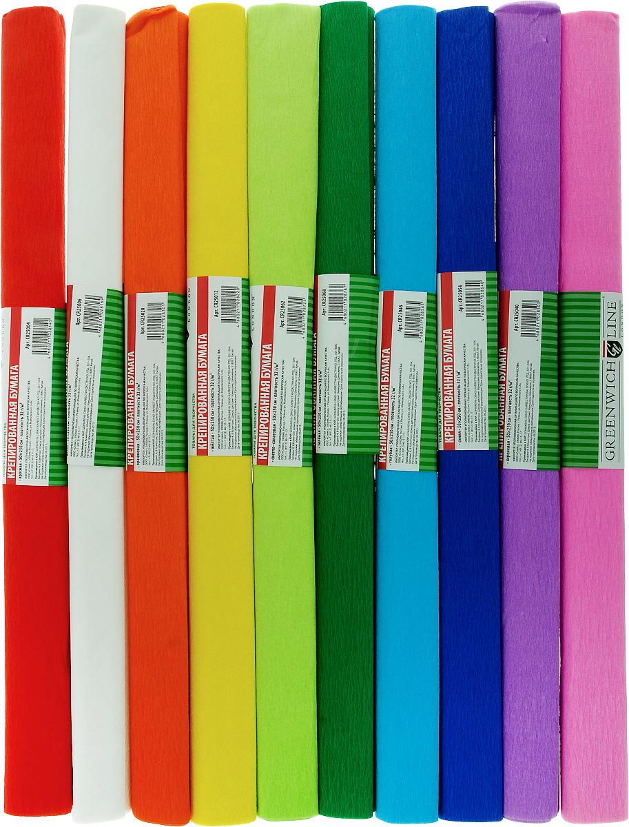 Greenwich Line Набор крепированной бумаги Ассорти 50 х 250 см 10 рулоновCR25090Набор крепированной бумаги Greenwich Line Ассорти - отличный вариант для воплощения творческих идей не только детей, но и взрослых. Набор состоит из 10 рулонов разноцветной бумаги, каждый рулон с плотностью 32 г/м2 прекрасно подходит для упаковки хрупких изделий, при оформлении букетов и создании сложных цветовых композиций, для декорирования и других оформительских работ. Насыщенный цвет бумаги сделает поделки по-настоящему яркими.Кроме того, набор Ассорти Greenwich Line поможет увлечь ребенка, развивая интерес к художественному творчеству, эстетический вкус и восприятие, увеличивая желание делать подарки своими руками, воспитывая самостоятельность и аккуратность в работе.Такая бумага поможет вашему ребенку раскрыть свои таланты.