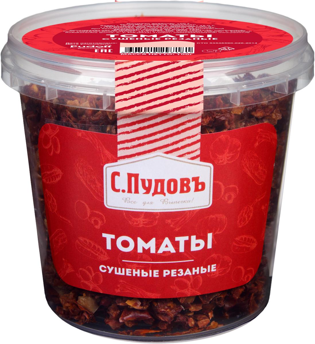 Пудовъ томаты сушеные резаные, 100 г4607012297181Сушеные резаные томаты - полезный ингредиент для тех, кто любит готовить. Его можно использовать при выпечке хлеба, приготовлении маринадов, горячих блюд, салатов. Великолепная добавка к восточным блюдам.
