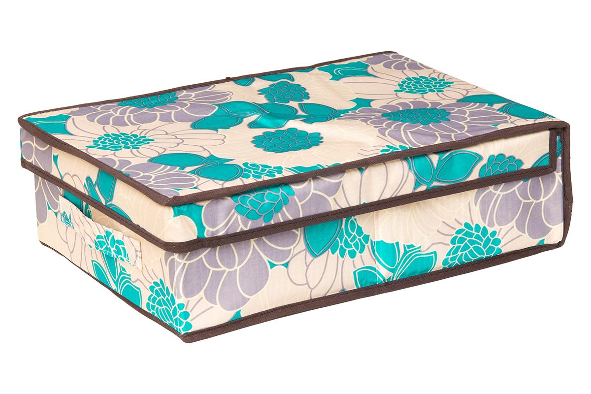 Кофр для хранения EL Casa Цветочное поле, складной, 27 х 41 х 12 см370355Компактный складной кофр El Casa Цветочное поле изготовлен из высококачественного полиэстера, который обеспечивает естественную вентиляцию, позволяя воздуху проникать внутрь, но не пропуская пыль. Вставка и стенки из плотного картона хорошо держат форму. Кофр оснащен 2 удобными ручками, которые позволяют использовать его в качестве выдвижного ящика в гардеробе или шкафу. Изделие закрывается откидной крышкой. Оригинальный дизайн сделает вашу гардеробную красивой и невероятно стильной.