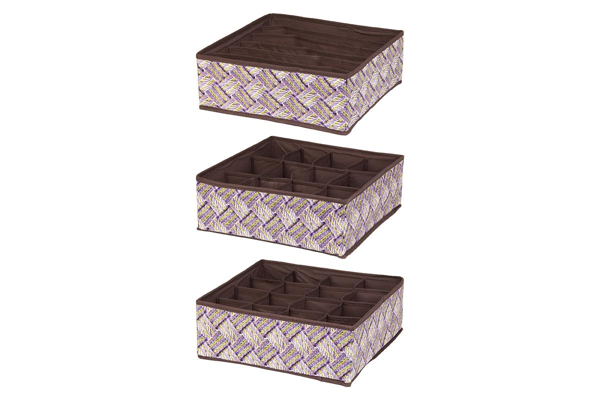 Набор кофров для хранения EL Casa Плетенка, 32 х 32 х 12 см, 3 шт кофры el casa кофр складной для хранения геометрия стиля