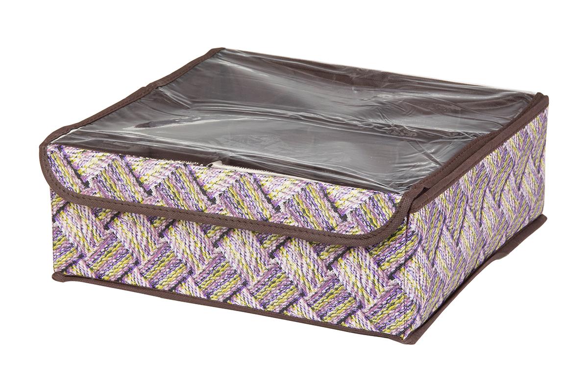 Кофр для хранения EL Casa Плетенка, 8 секций, 32 х 32 х 12 см370528Кофр для хранения EL Casa Плетенка выполнен из качественного нетканого материала, который обеспечивает естественную вентиляцию, отлично пропускает воздух, но не пропускает пыль. Вставки из плотного картона хорошо держат форму. Изделие декорировано плетеным узором и имеет оригинальный дизайн. Кофр с 8 секциями подходит для хранения нижнего белья, колготок, носков и другой одежды. Прозрачная крышка на липучке, выполненная из ПВХ, позволяет видеть содержимое кофра, не открывая его. Изделие поможет хранить вещи компактно и удобно. Подходит для размещения в шкафу, комоде.