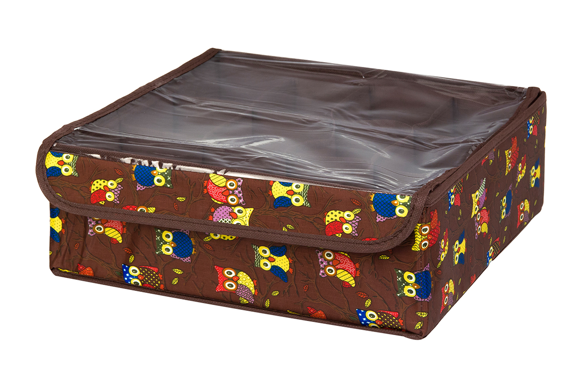 Кофр для хранения EL Casa Совы на ветках, цвет: коричневый, 12 секций, 32 х 32 х 12 см370531Кофр для хранения EL Casa Совы на ветках выполнен из полиэстера, который обеспечивает естественную вентиляцию, отлично пропускает воздух, но не пропускает пыль. Вставки из плотного картона хорошо держат форму. Кофр имеет оригинальный дизайн, он декорирован красочным изображением забавных сов. Кофр с 12 секциями подходит для хранения нижнего белья, колготок, носков и другой одежды. Прозрачная крышка на липучке, выполненная из ПВХ, позволяет видеть содержимое кофра, не открывая его. Такой органайзер поможет хранить вещи компактно и удобно. Подходит для размещения в шкафу, комоде.