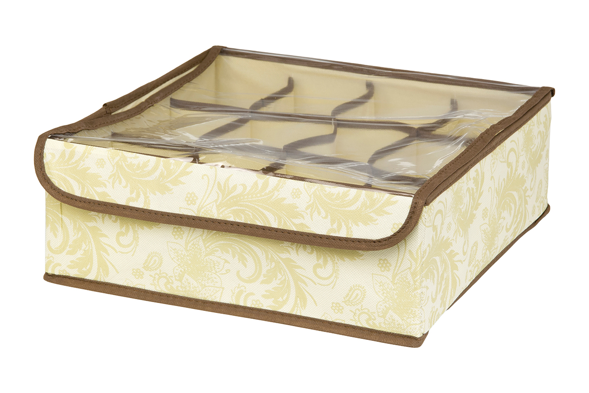 Кофр для хранения EL Casa Узор, 12 секций, 32 х 32 х 12 см370541Кофр для хранения EL Casa Узор выполнен из качественного нетканого материала, который обеспечивает естественную вентиляцию, отлично пропускает воздух, но не пропускает пыль. Вставки из плотного картона хорошо держат форму. Изделие декорировано изысканным цветочным узором и имеет оригинальный дизайн. Кофр с 12 секциями подходит для хранения нижнего белья, колготок, носков и другой одежды. Прозрачная крышка на липучке, выполненная из ПВХ, позволяет видеть содержимое кофра, не открывая его. Изделие поможет хранить вещи компактно и удобно. Подходит для размещения в шкафу, комоде.