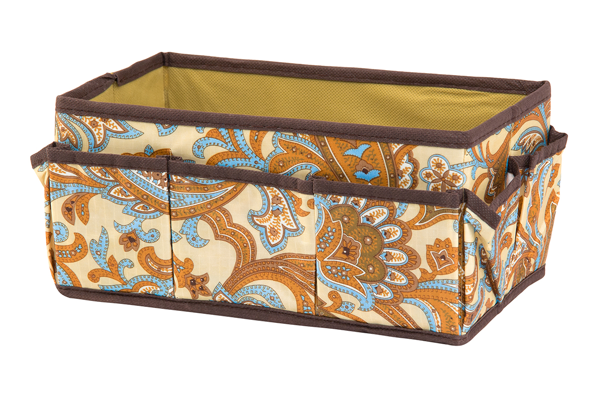 Органайзер для мелочей EL Casa Перо павлина, цвет: бежевый, 7 карманов, 25 х 15 х 12 см370611Органайзер для мелочей EL Casa Перо павлина выполнен из полиэстера, декорированного красивым орнаментом. Вставки из плотного картона хорошо держат форму. Удобный и компактный органайзер с 7 карманами с легкостью вместит все необходимые баночки и тюбики. Большое основное отделение можно использовать для кремов, парфюмерии и лаков. Наличие различных кармашков делает возможным хранение декоративной косметики и аксессуаров.