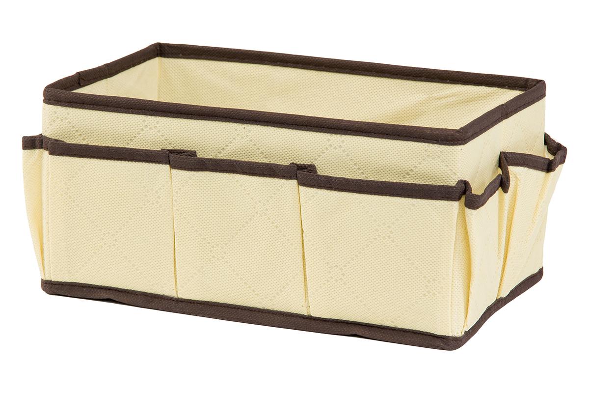 Органайзер для мелочей EL Casa Геометрия стиля, 7 карманов, 25 х 15 х 12 см370615Органайзер для мелочей EL Casa Геометрия стиля выполнен из качественного нетканого материала, декорированного геометрическим узором. Благодаря специальным вставкам из картона изделие прекрасно держит форму. Удобный и компактный органайзер с 7 карманами с легкостью вместит все необходимые баночки и тюбики. Большое основное отделение можно использовать для кремов, парфюмерии и лаков. Наличие различных кармашков делает возможным хранение декоративной косметики и аксессуаров.