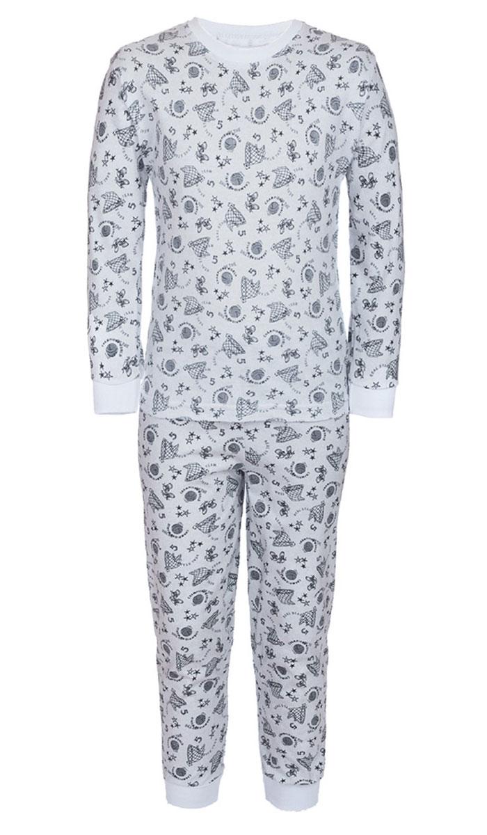 Пижама для мальчика M&D, цвет: белый, серый. ПЖ180320. Размер 116ПЖ180320Уютная пижама для мальчика M&D, состоящая из лонгслива и брюк, изготовлена из натурального хлопка. Лонгслив с длинными рукавами и круглым вырезом горловины оформлен оригинальным принтом.Брюки на талии имеют эластичную резинку. Вырез горловины, манжеты рукавов и низ брючин дополнены трикотажными резинками.