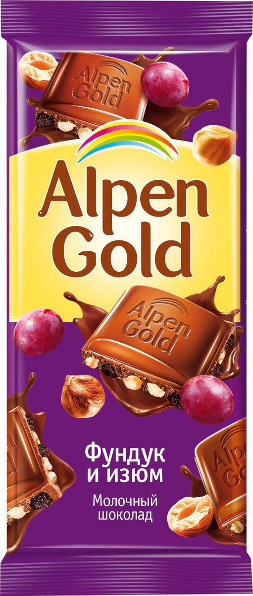 Alpen Gold шоколад молочный с фундуком и изюмом, 90 г alpen gold шоколад белый с миндалем и кокосовой стружкой 90 г