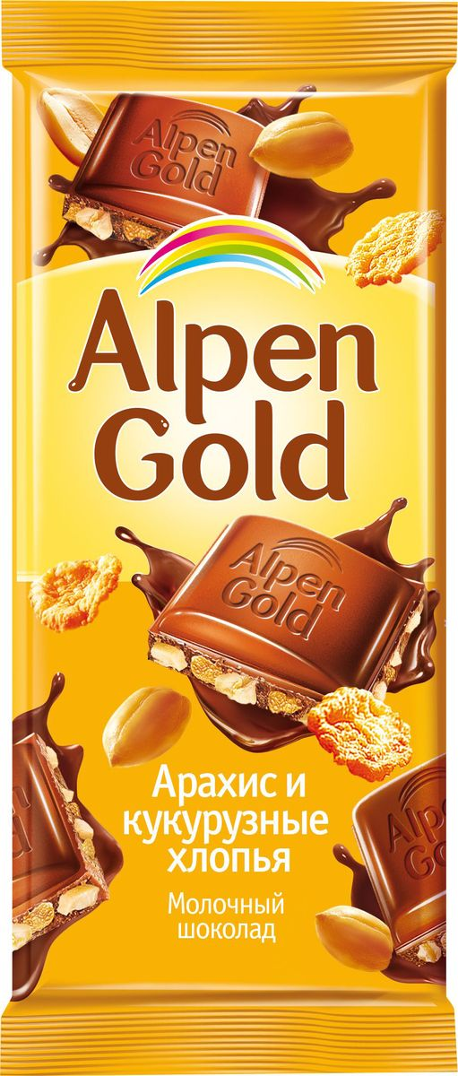 Alpen Gold шоколад молочный с арахисом и кукурузными хлопьями, 90 г alpen gold шоколад белый с миндалем и кокосовой стружкой 90 г