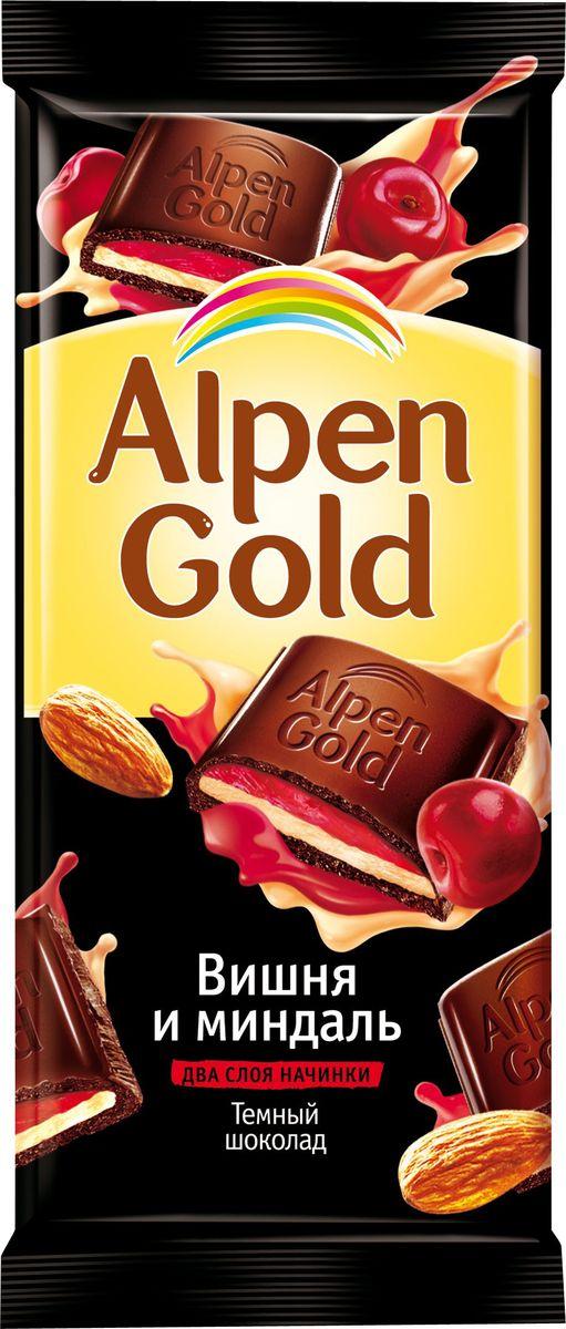 Alpen Gold шоколад темный с миндально-вишневой начинкой, 90 г шоколад alpen gold темный вишня и миндаль