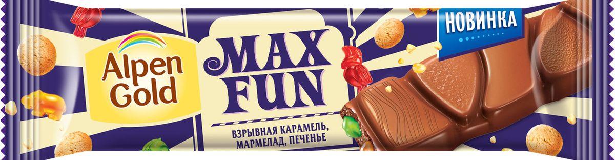 Alpen Gold Max Fun шоколад молочный со взрывной карамелью, мармеладом и печеньем, 38 г alpen gold шоколад белый с миндалем и кокосовой стружкой 90 г