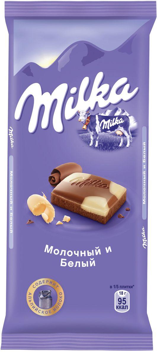 Milka шоколад молочный с белым шоколадом, 90 г milka bubbles шоколад молочный пористый 80 г