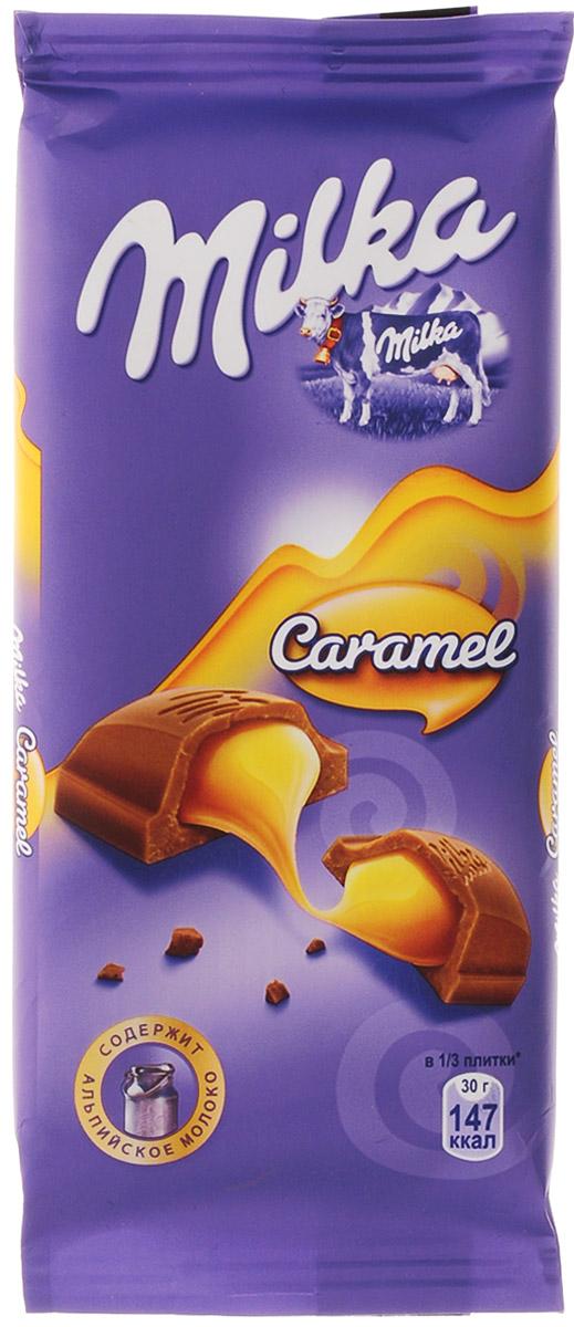 Milka шоколад молочный с карамельной начинкой, 90 г